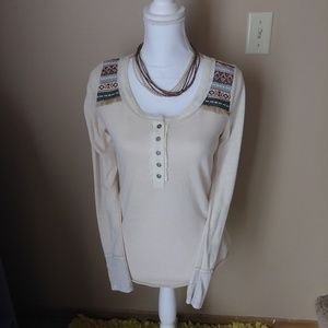 Miss Me Aztec long sleeve button lace back top